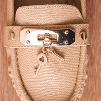 Natures Breeze Under Lock And Key Metal Charm Faux Leather Loafers Mindie-27 - Beige