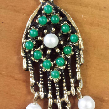 Sarah Coventry Pendant, Turquoise, Emerald Green, Pearls, Signed Sarah Coventry, Necklace, Vintage Jewelry