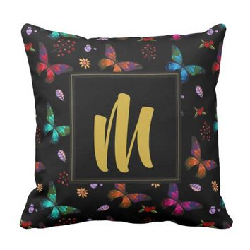Colorful Butterflies Pattern on Black Monogram Throw Pillow