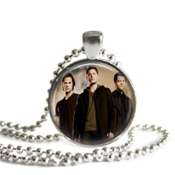 Castiel, Sam and Dean Winchester Necklace Silver Plated Supernatural Jewelry Handmade