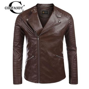 COOFANDY Male 2017 New Arrivals Masculina Clothes Men Clothes  Long Sleeve PU Faux-Leather Moto Biker Jacket US Size S-XXL