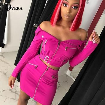 Ohvera  Sexy Two Piece Set Off Shoulder Backless Crop Top And Shorts 2 Piece Set Women Autumn Outfits
