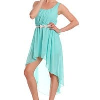 Seafoam Sleeveless Scoop Neck High Low Hem Studded Trim Sexy Party Dress