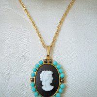 Gold Cameo Necklace, Czech Lady Cameo Turquoise Bronze Beads Hamilton Gold Rope Chain 18 Inches Long