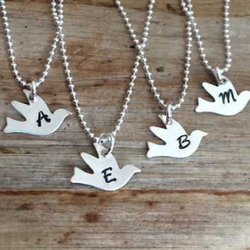 Custom Sterling Silver Engraved Initial Dove Bird Charm Necklace, Personalized Gift, Letter Pendant, Bridesmaids, Confirmation, Bat Mitzvah