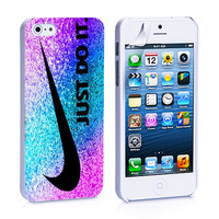 Nike Just Do It Pink Blue Purple Glitter iPhone 4, 4S, 5, 5C, 5S Samsung Galaxy S2, S3, S4 Case