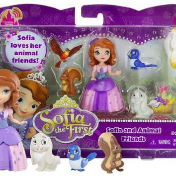 "Sofia and Animal Friends ~3"" Disney Sofia the First Mini-Doll Fashion Playset"