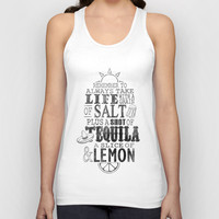 Life is like a bottle of Tequila... Unisex Tank Top by John Medbury (LAZY J Studios)