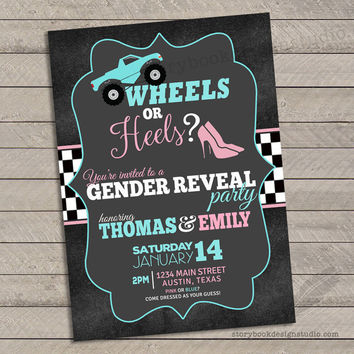 Wheels or Heels Gender Reveal Invitations