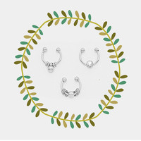 Small Silver Fake Septum Piercing Set, Tiny Faux Nose Ring Set