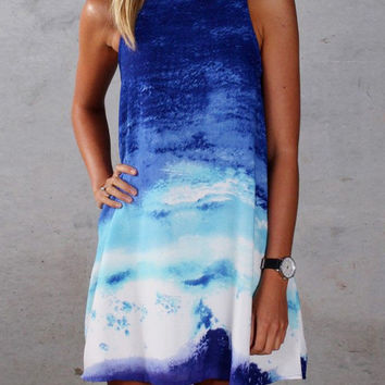 Gradient Printed Sleeveless Mini A-Line Dress