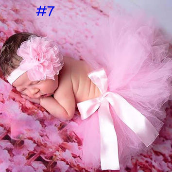 Newborn Tutu Skirt With Matching Flower Headband Baby Photography Props Bow Girl Tulle Tutu Skirt and hair accessories 8 Designs