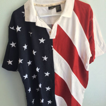 july 4th / american flag polo usa shirt / L
