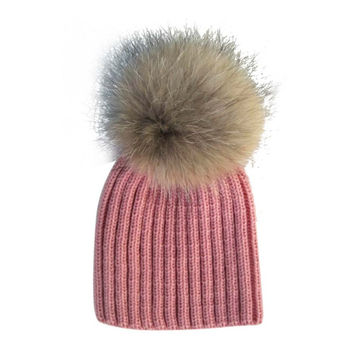Baby Lovely Beanie Raccoon Fur Pom Bobble Kids Woolen Hat Kids Warm Crochet Hats Kawaii Baby Winter Hat for Girls Boys