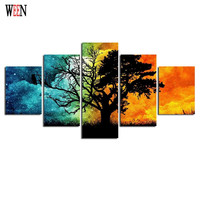 Abstract Tree Canvas Art With Framed Direatly Handed 5 Piece Wall Pictures For Living Room HD Print Large Cuadros Decoracion