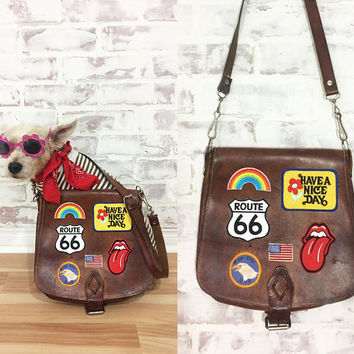 Vintage 1970's Leather ROADTRIP Satchel Crossbody Bag With Patches ||  Cognac Brown Leather Purse || Boho Hippie Bag || OOAK