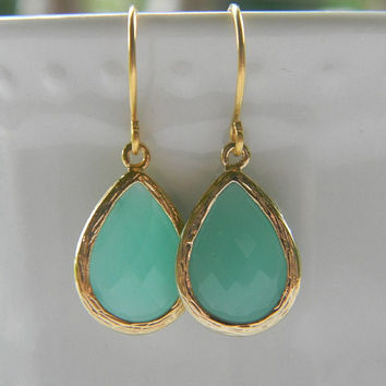 Tiffany Blue Aqua Dangle Earrings - Gold Wrapped Glass Teardrop - Bridesmaids Jewelry, Bridal Jewelry, Wedding Jewelry