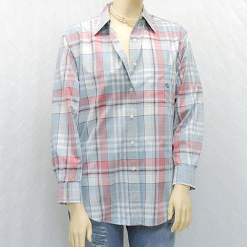 Ralph Lauren oxford shirt / size M / L / 12 / 14 / vintage 80s white / pink / gray plaid button down cotton shirt / Lauren boyfriend shirt