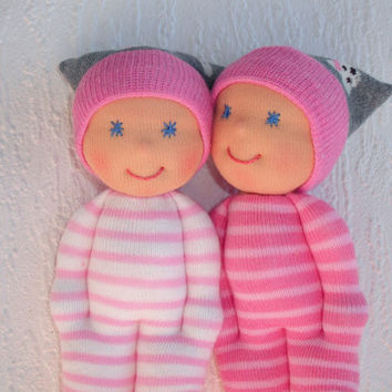 Twin dolls, Waldorf baby dolls, Pocket dolls for twin baby girls, First birthday, Twins Valentines  baby gift, Handmade sister dolls
