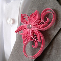 Rose Pink Boutonniere, Rose Pink Buttonhole, Rose Wedding