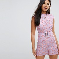 ASOS Playsuit with High Neck and Belt in Retro Floral Print at asos.com