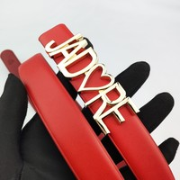 Dior selling fashionable men's and women's letter gold buckle belt Red