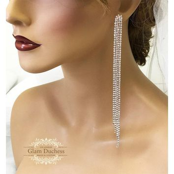 Long Drop Rhinestone Crystal Bridal Earrings