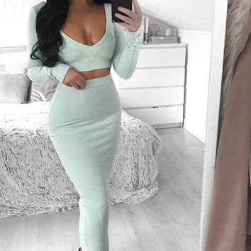 Lights, Camera, Action Ribbed Long Sleeve V Neck Crop Top Bodycon Two Piece Midi Dress - 2 Colors Available