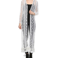 White Lace Open Duster
