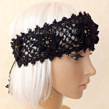 OOAK Irish Lace 3D Crochet Headband Dreadlock Head Wrap Boho Black Gold Glass Beaded Women Ivory Wedding Bridal Cotton Hair Snood