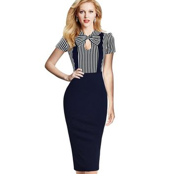 Vfemage Women Vintage Keyhole Bow Tie Faux Twinset Contrast Straps Striped Pocket Wear to Work Casual Party Sheath Dress 1610