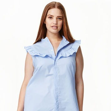 O-Neck Sleeveless Button Up Blouse