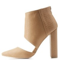 Camel Snakeskin-Textured Pointed Toe Chunky Heels by Charlotte Russe
