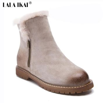 LALA IKAI Fashion Mid-Calf Boots Women Winter Fur Boots Snow Casual Shoes Flats High Quality Fur Women Chelsea Boots 014N1360-4
