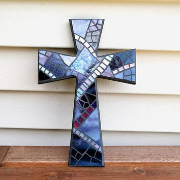 Unique Black Crucifix, Dark Purple Wall Cross, Purple Black Stained Glass Mosaic Wall Cross, Purple Mosaic Wall Cross, Handmade Wall Cross