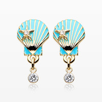 Golden Ariel's Seashell Star Ear Stud Earrings