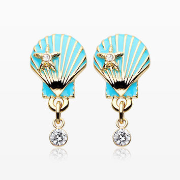 A Pair of Golden Ariel's Seashell Star Ear Stud Earrings