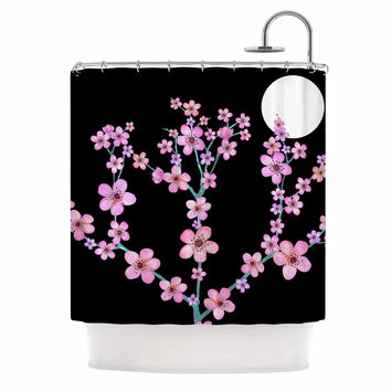 "Julia Grifol ""Cherry Blossom At Night"" Pink Black Shower Curtain"