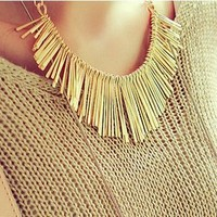 Metallic Fringes Collar Necklace (2 Colors!)