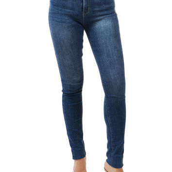 "9"" High Rise Washed Skinny Denim Jeans"