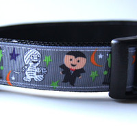 Monster Mash Halloween Dog Collar Adjustable Sizes (M, L, XL)