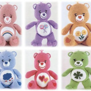 50% OFF Sale! Adorable Colourful Care Bears Amigurumi Pattern: INSTANT DOWNLOAD Teddy Bears