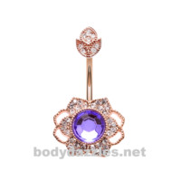 Rose Gold Antique Georgian Flower Belly Button Ring Stainless Steel Body Jewelry
