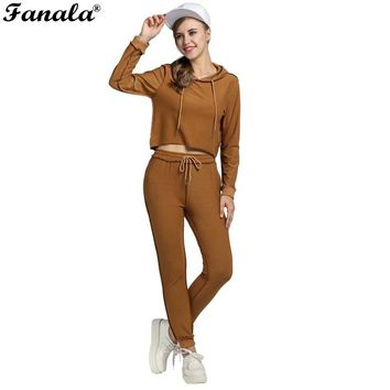 FANALA 2016 Fashion Women Sportswear Autumn Winter Solid Tracksuits Long-sleeve Casual Track Suit Costumes Mujer 2 Piece Set