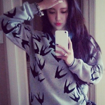 Gray Swallow Flocking Three-Dimensional Printed Long-Sleeved Thick Fleece Sweatshirts