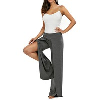 Women Comfy High Waist Split Wide Leg Flowy Long Palazzo Pants