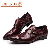 fashion Italian mens dress shoes with buckle black brown designer male shoes men wedding business office