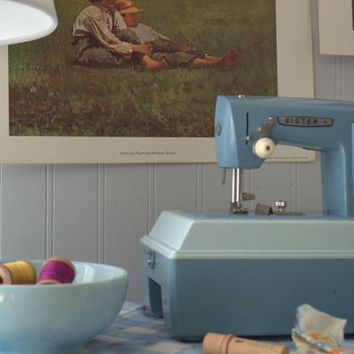 Mid Century Blue and White Child's Electric Sewing Machine with Case