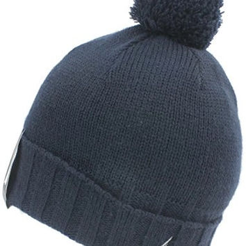 Nautica Knit Cuff Beanie Skull Cap with Pom, Navy Blue, Adult One Size Fits All