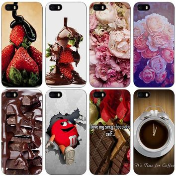 peony chocolate and coffee Style Black Plastic Case Cover Shell for iPhone Apple 4 4s 5 5s SE 5c 6 6s 7 Plus